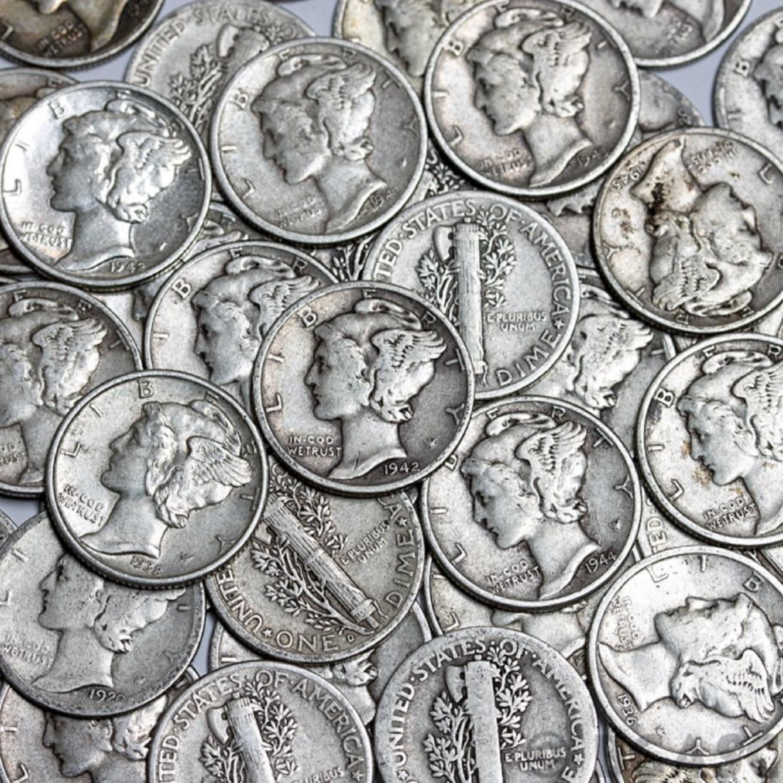 (100) Mercury Dimes - $10 Face Value -90%