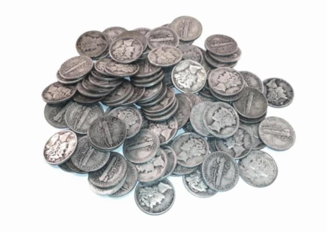 (100) Mercury Dimes - $10 Face Value -90% - 2