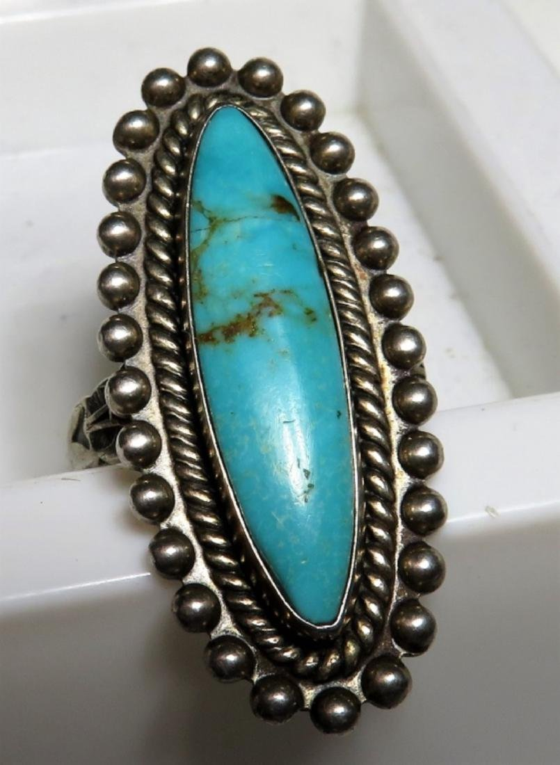 Signed JP Turquoise indian Pawn Ring