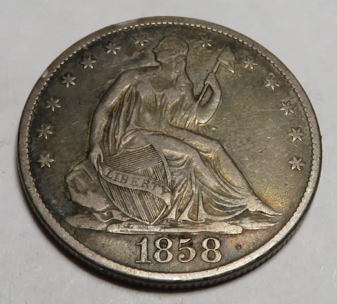 1858 O Seated Liberty Half Dollar AU Grade