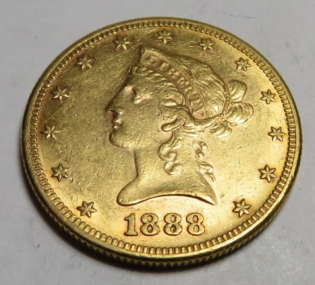 1888 S Better Date $10 Gold Liberty Coin