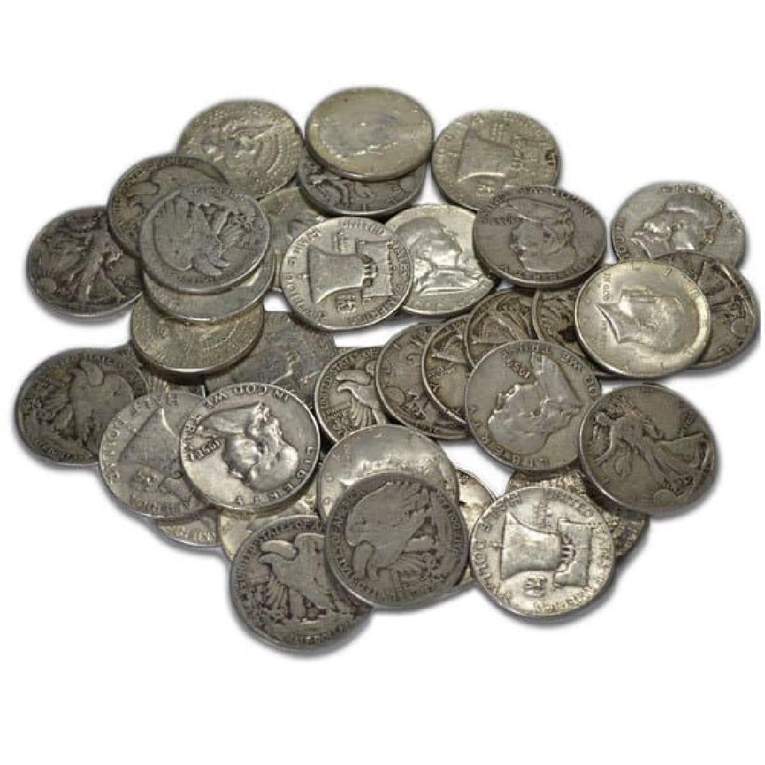 (30) Mixed Type -90% Silver Half Dollars - 2