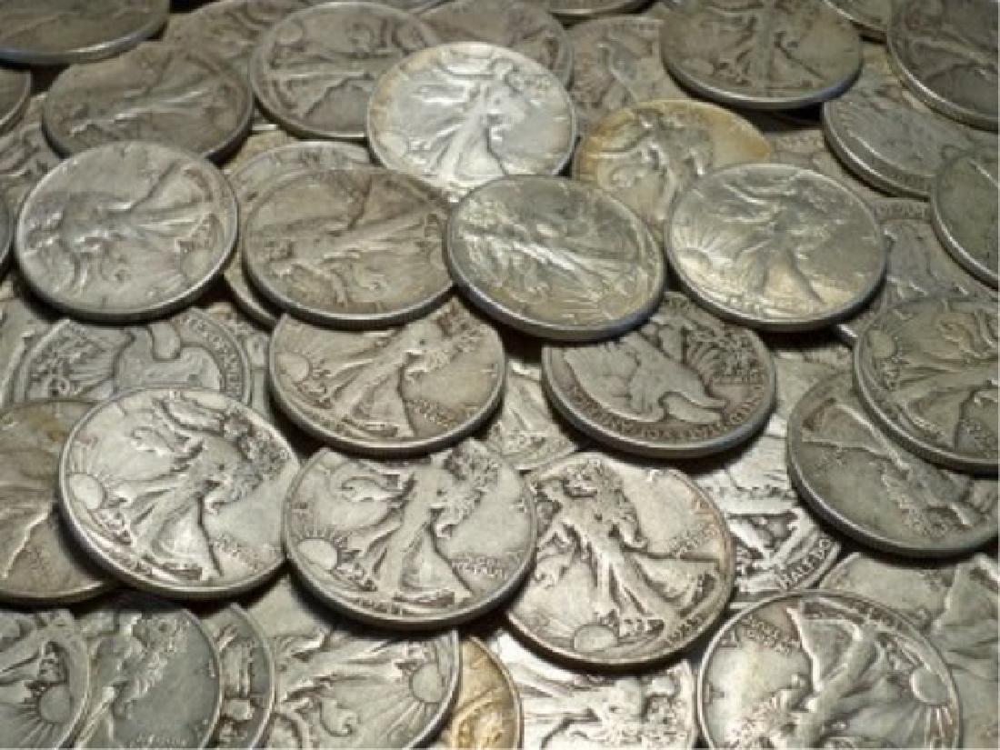 155 Walking Liberty Half Dollars- 90% Silver - 2