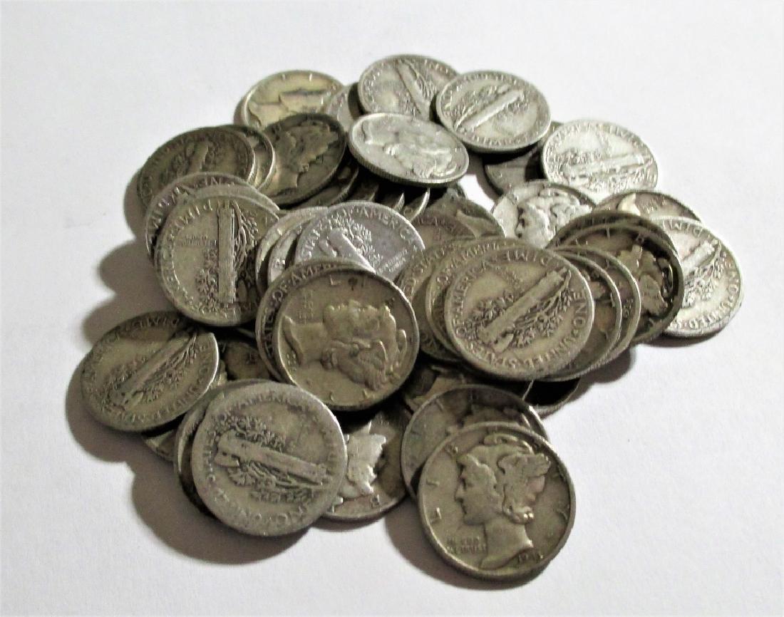 (50) Mercury Dimes -90% Silver - 2