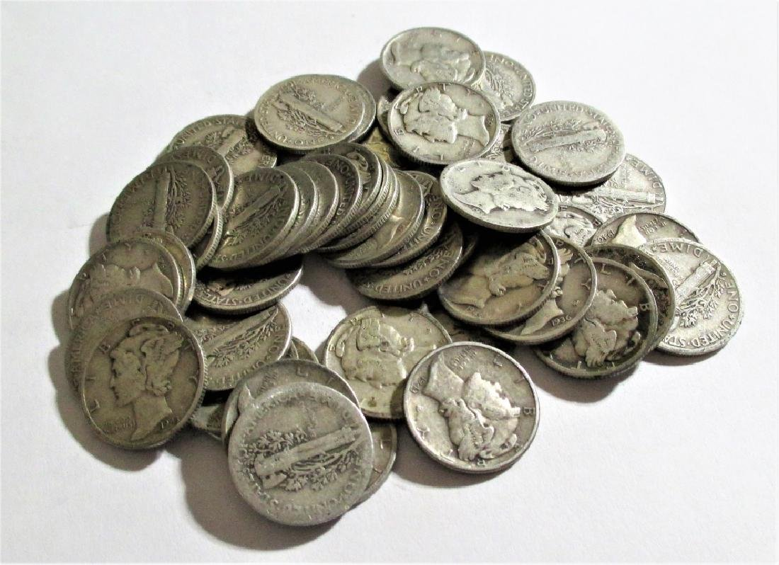 (50) Mercury Dimes -90% Silver - 3