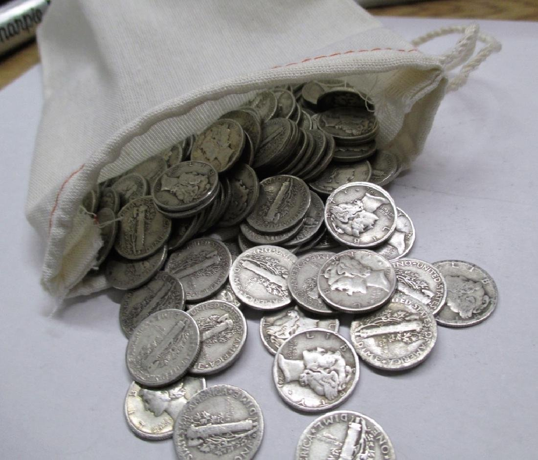 Canvas Bag - 220 Mercury Dimes - 90% Silver