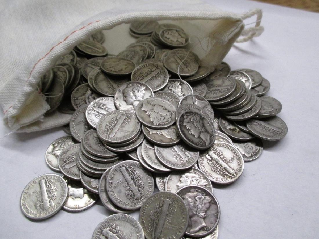 Canvas Bag - 220 Mercury Dimes - 90% Silver - 2