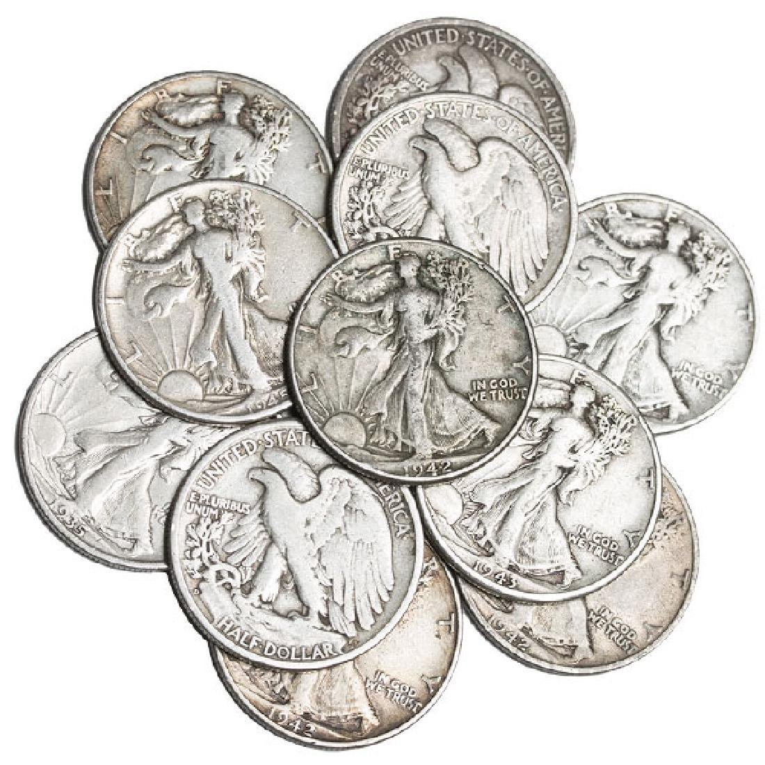 (10) Walking Liberty Half Dollars 90% Silver