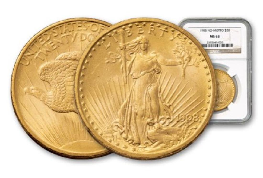 1908 NM MS 63 NGC $20 Gold Saint Gaudens - 2