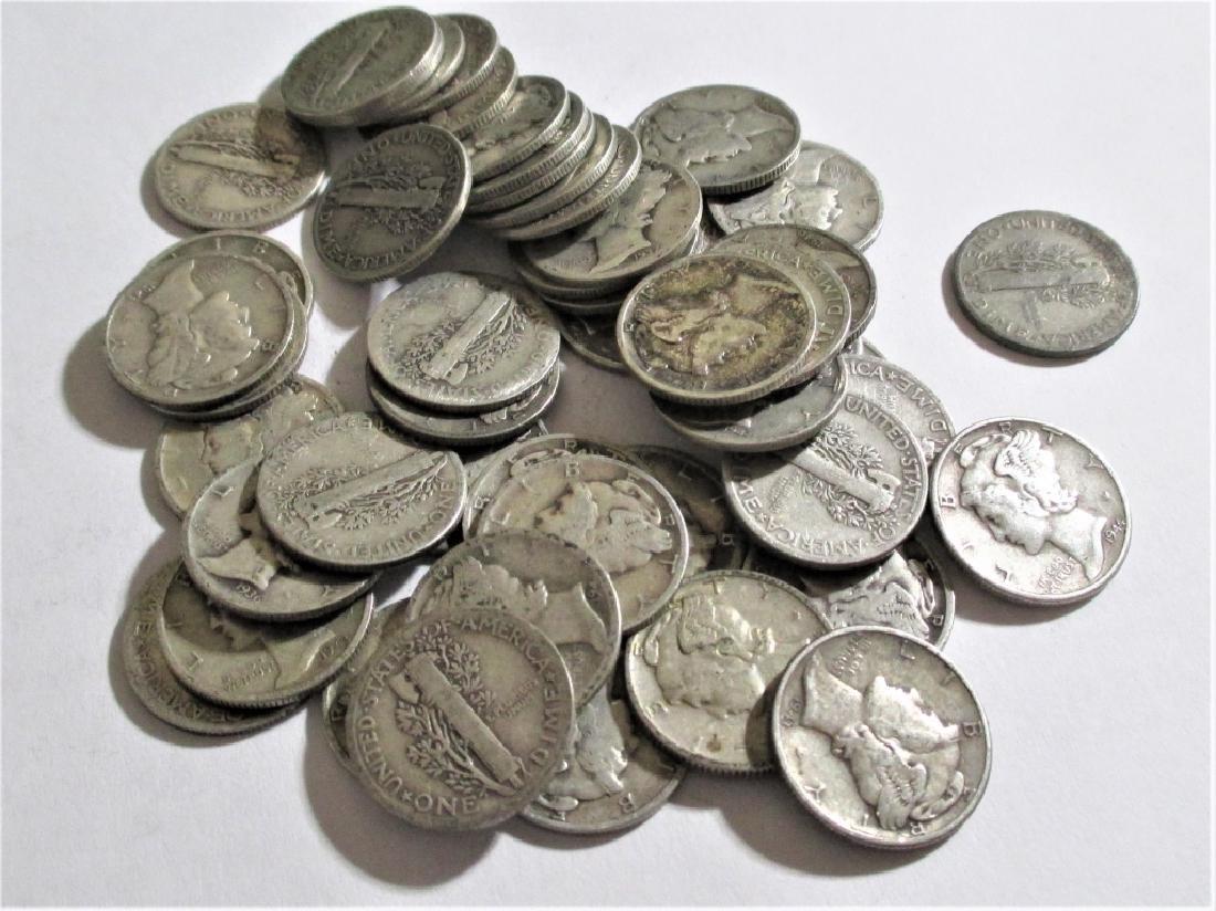 (50) Mercury Dimes -90 % Silver