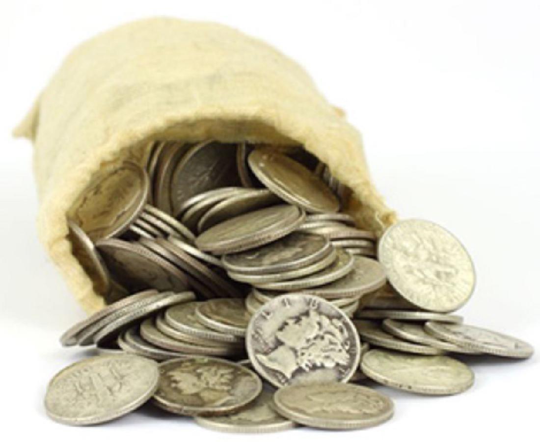 Canvas Bank Bag w/ 200 pcs. Mercury Dimes 90%