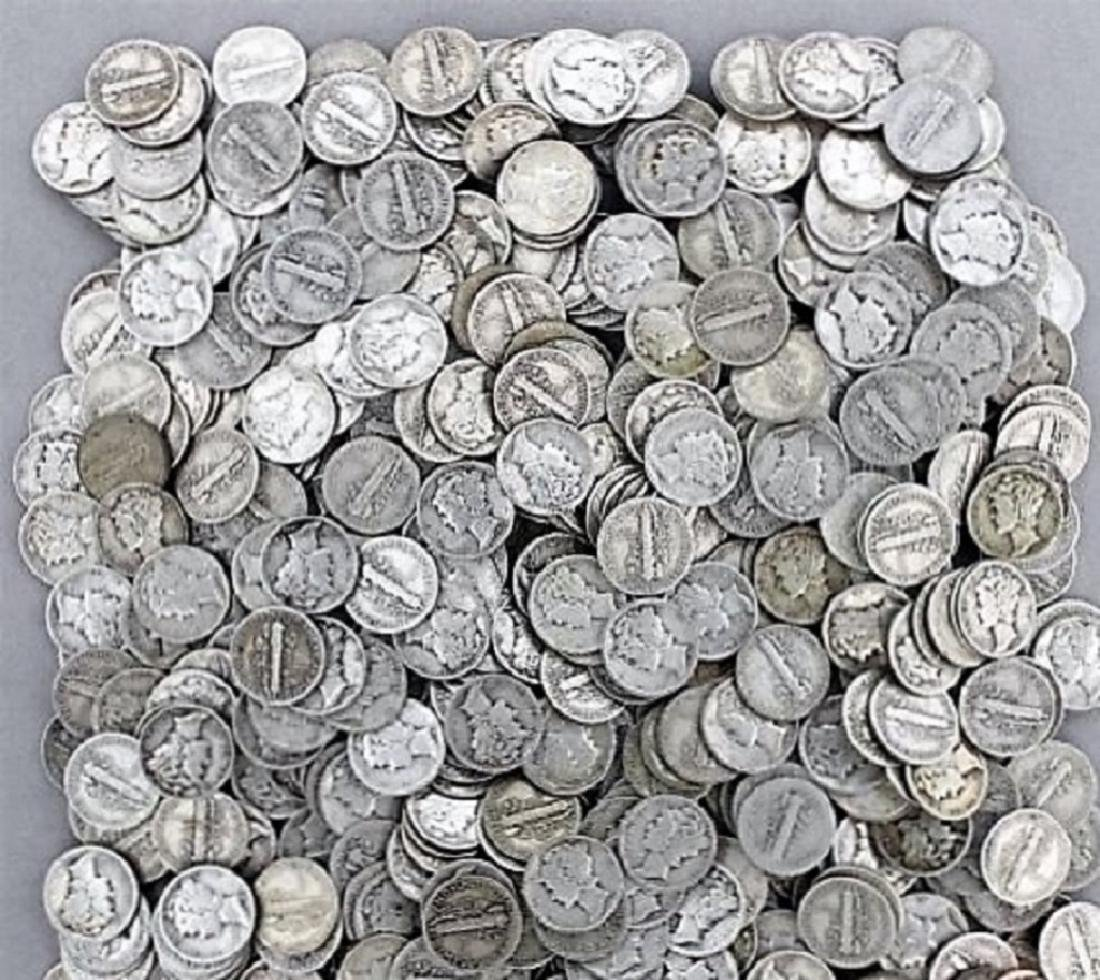 (100) Mercury Dimes 90% Silver Mix Dates - 2