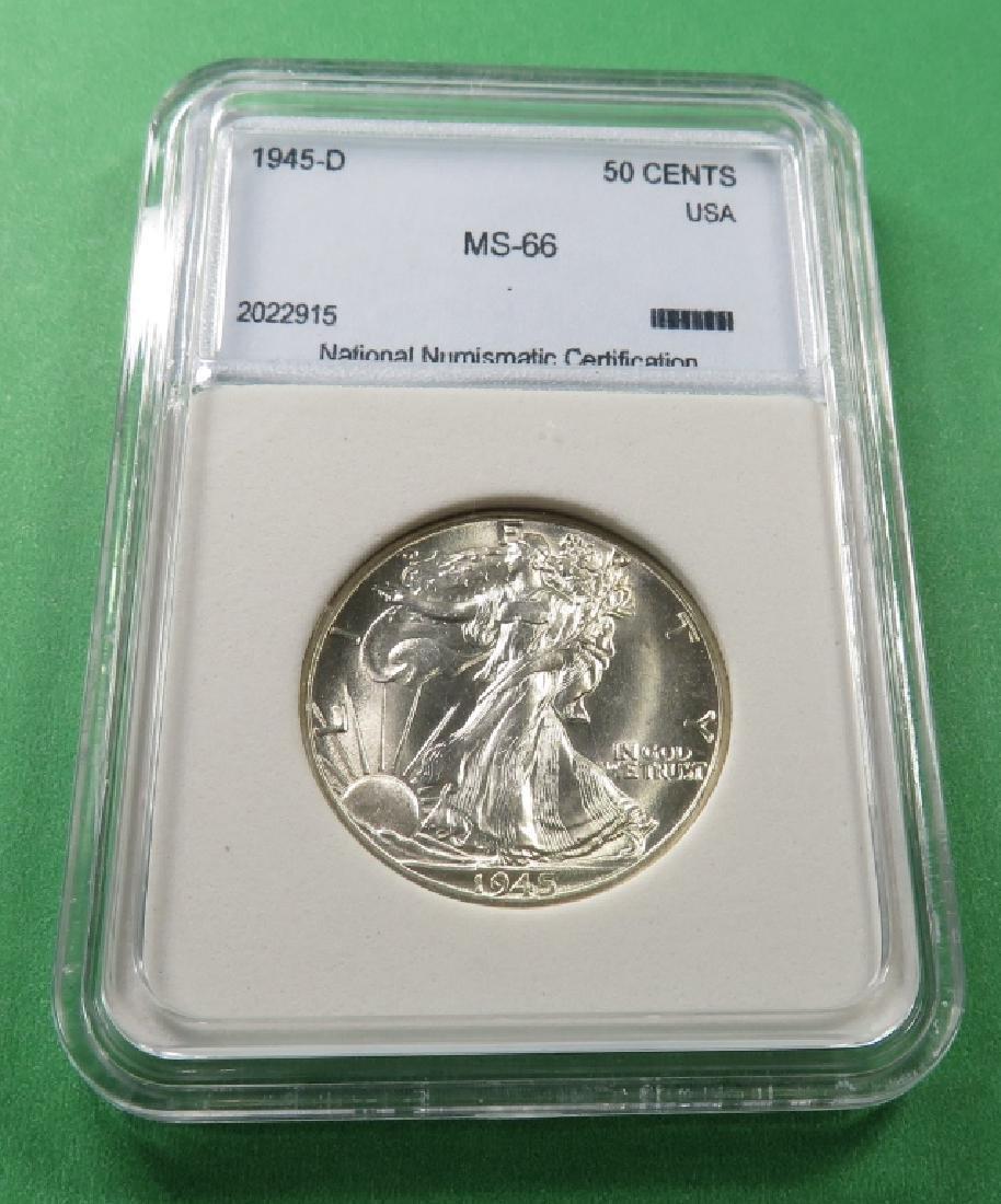 1945 D MS 66 NNC Walking Liberty Half Dollar