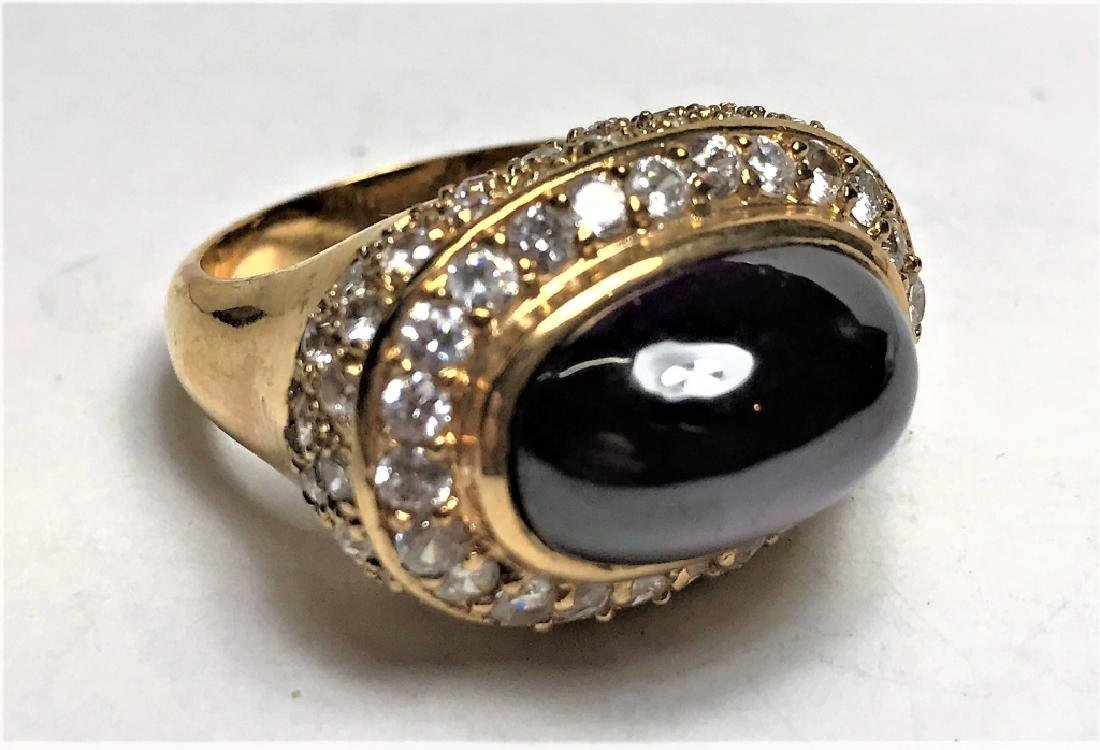 Amethyst Cabochon Gold Vermeil Ring
