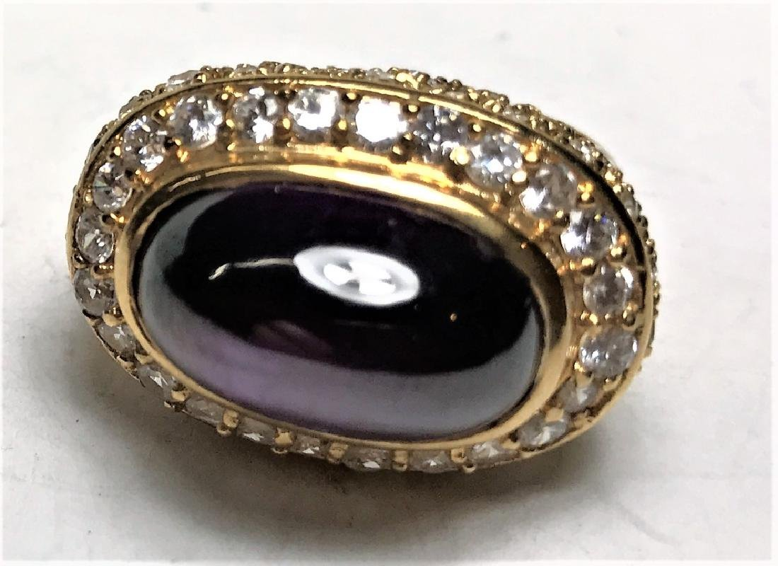 Amethyst Cabochon Gold Vermeil Ring - 2