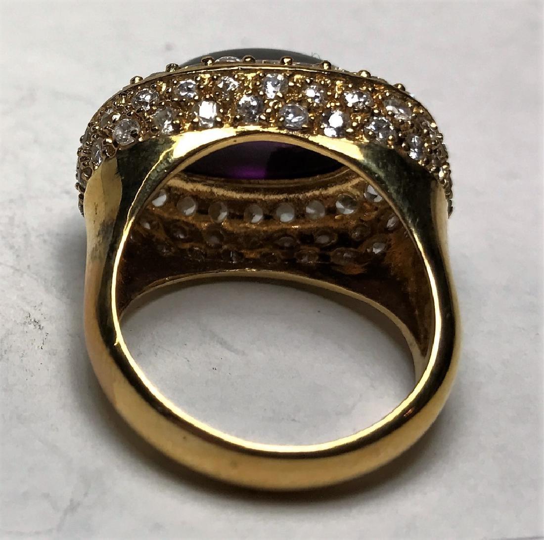 Amethyst Cabochon Gold Vermeil Ring - 4