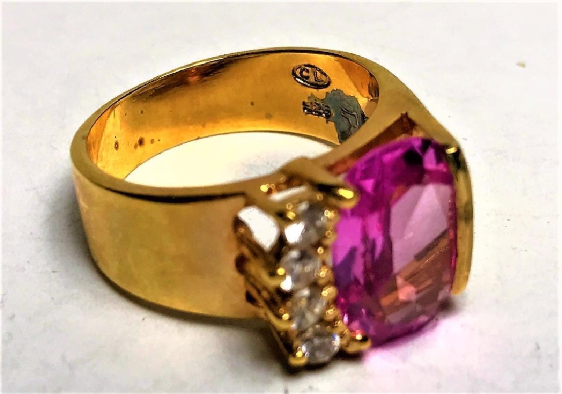 Natural Pink  Topaz Gold Vermeil Ring