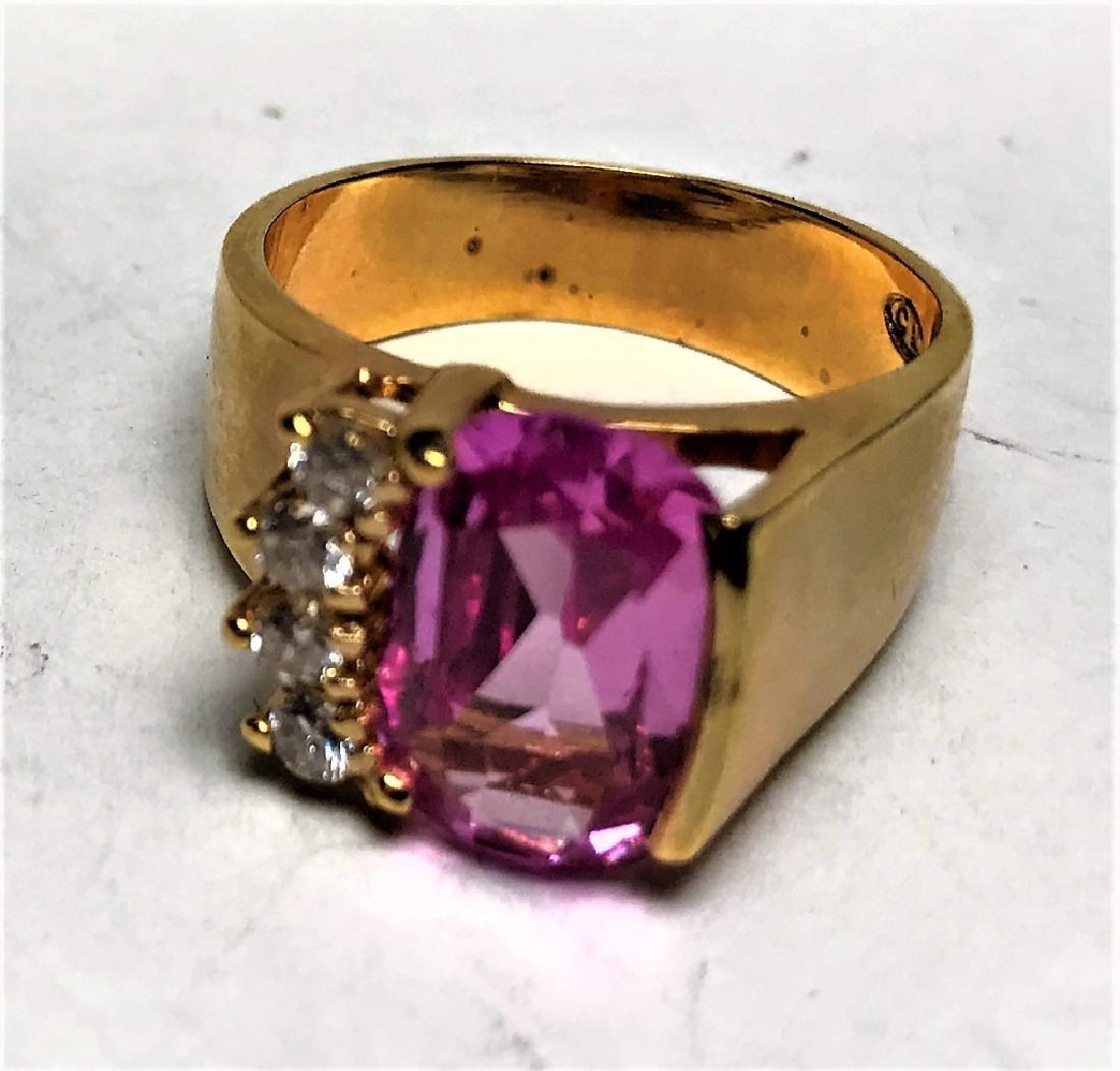 Natural Pink  Topaz Gold Vermeil Ring - 2