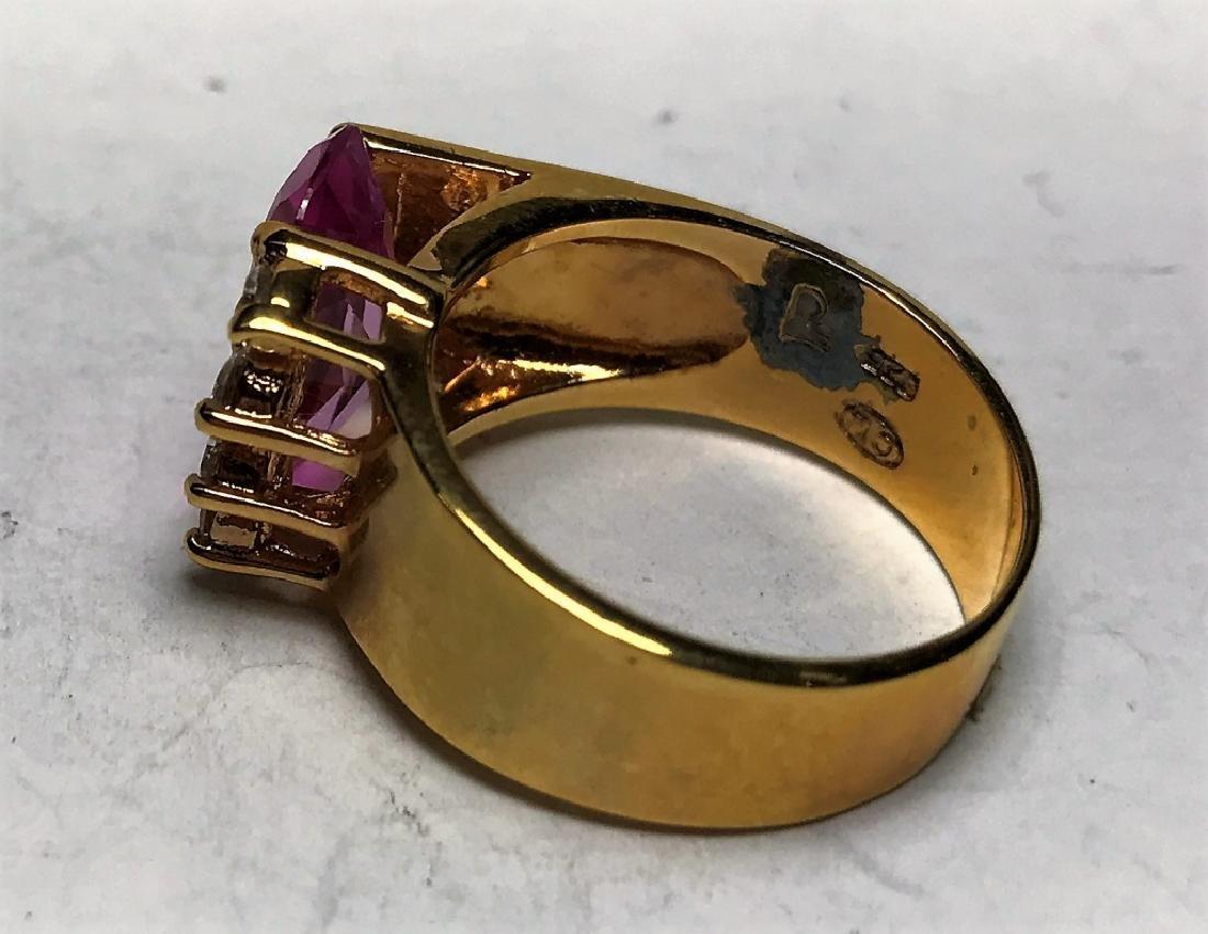 Natural Pink  Topaz Gold Vermeil Ring - 3