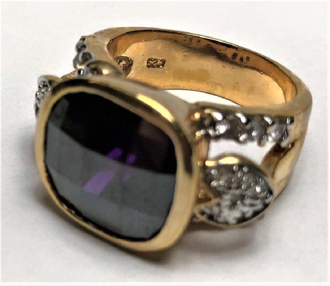 Natural Amethyst Gold Vermeil Ring - 2