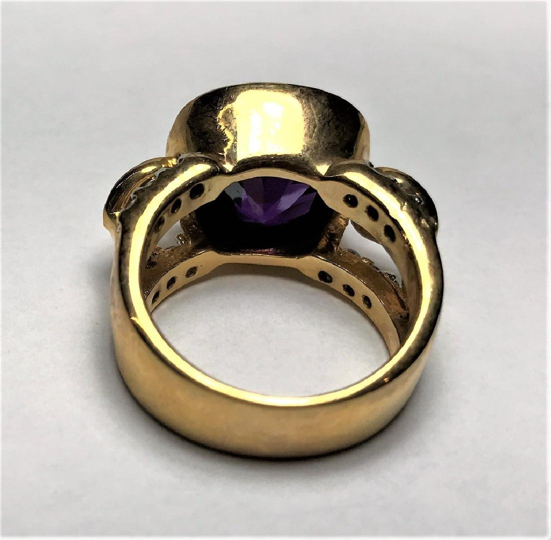 Natural Amethyst Gold Vermeil Ring - 3