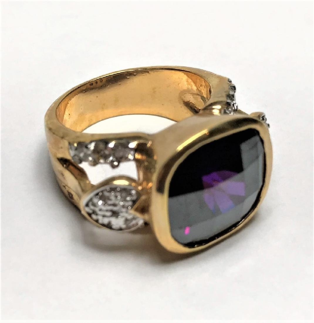 Natural Amethyst Gold Vermeil Ring - 4