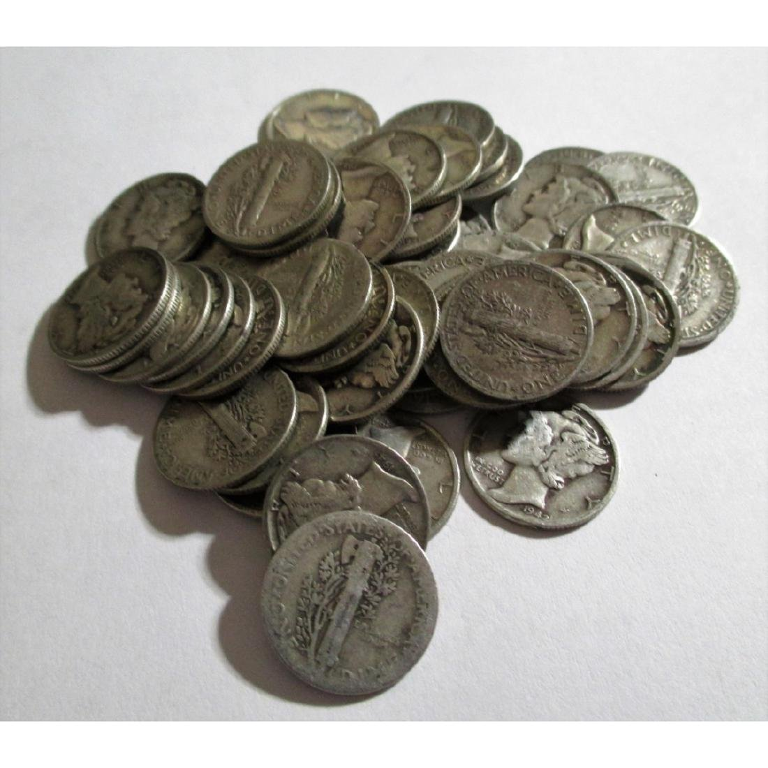 (50) Mercury Dimes- 90% Silver - 2