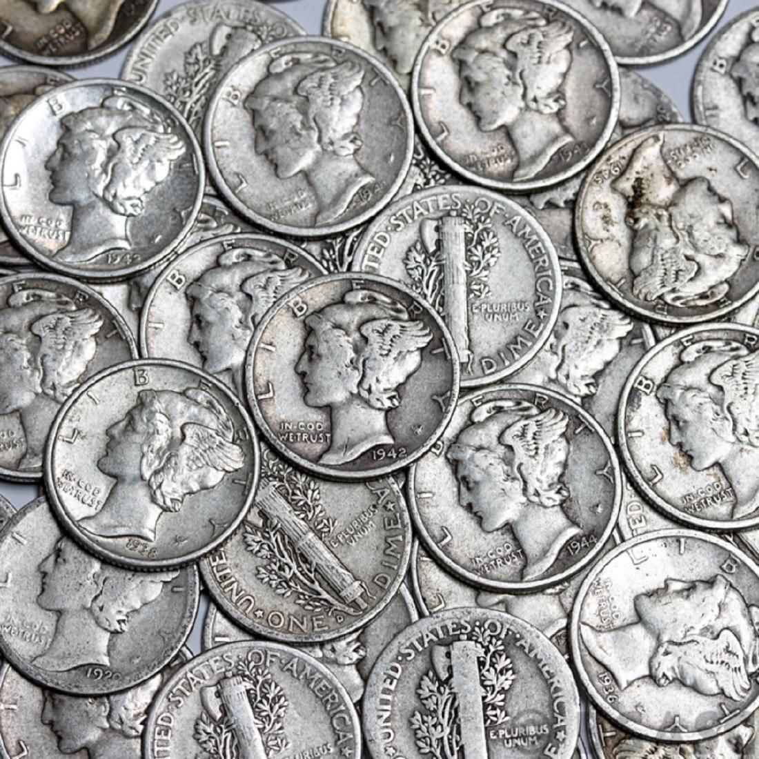 Lot of (100) Mercury Dimes -90% Silver - 2