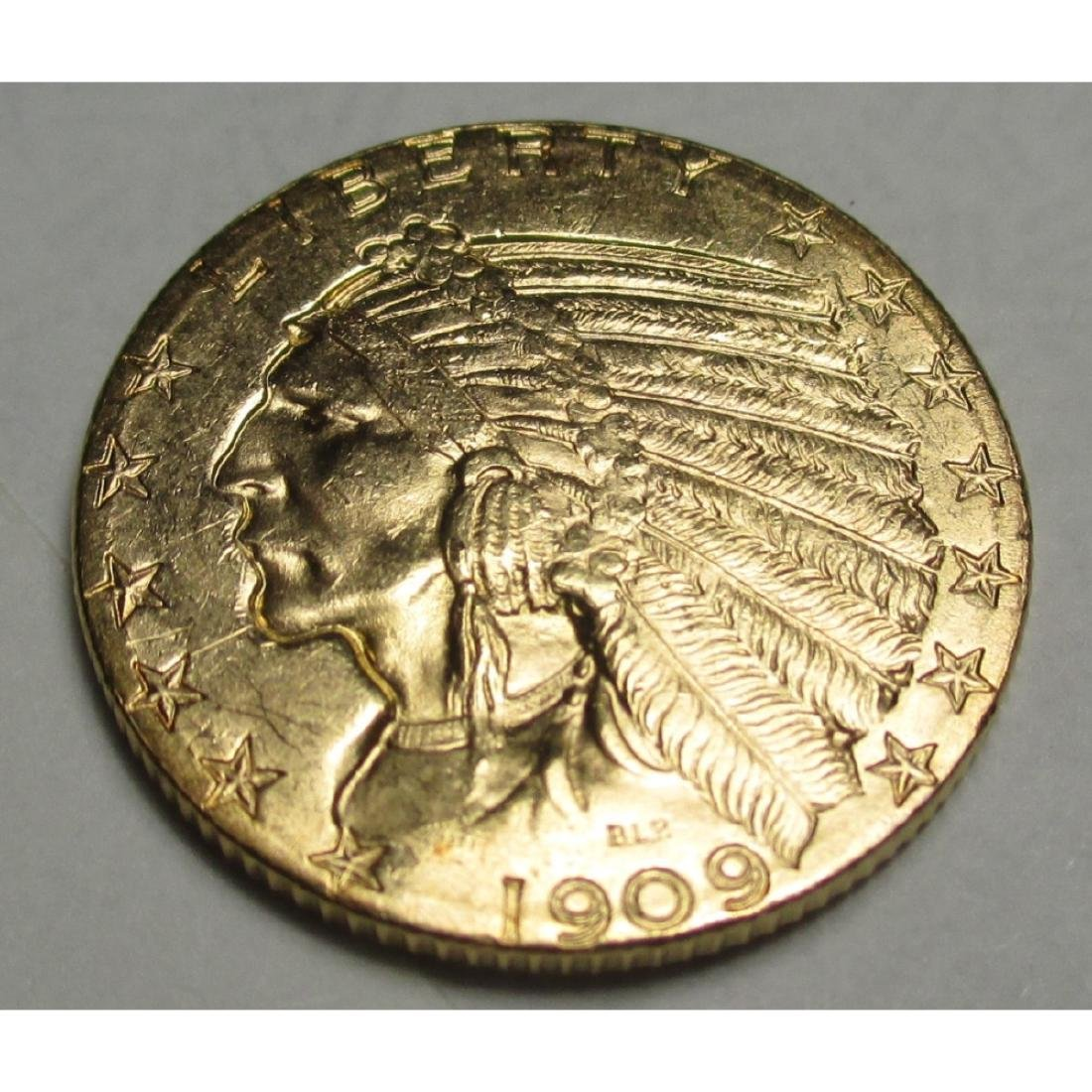1909 D $5 Five Gold Indian Half Eagle