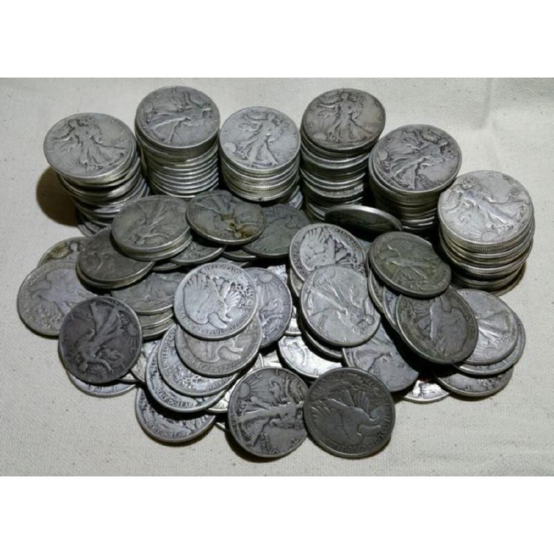 (50) Walking Liberty Half Dollars -90% Silver - 2