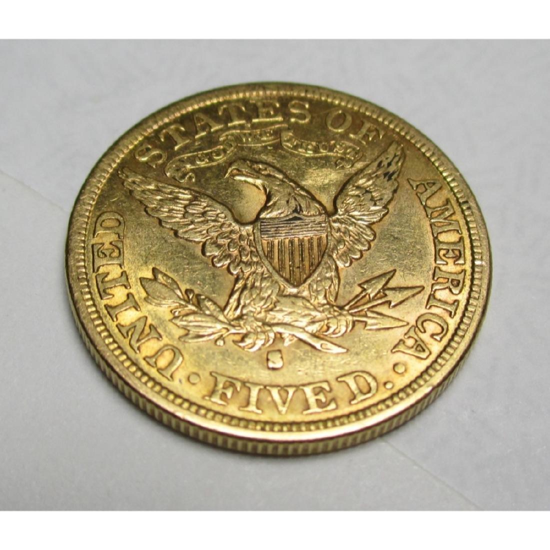 1882 S $5 FIVE Gold Liberty Half Eagle - 2