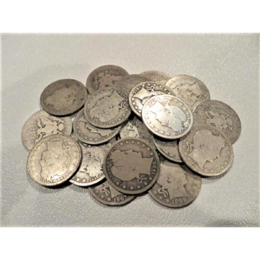 (25) Barber Quarters - 90% Silver Mixed Grades - 2