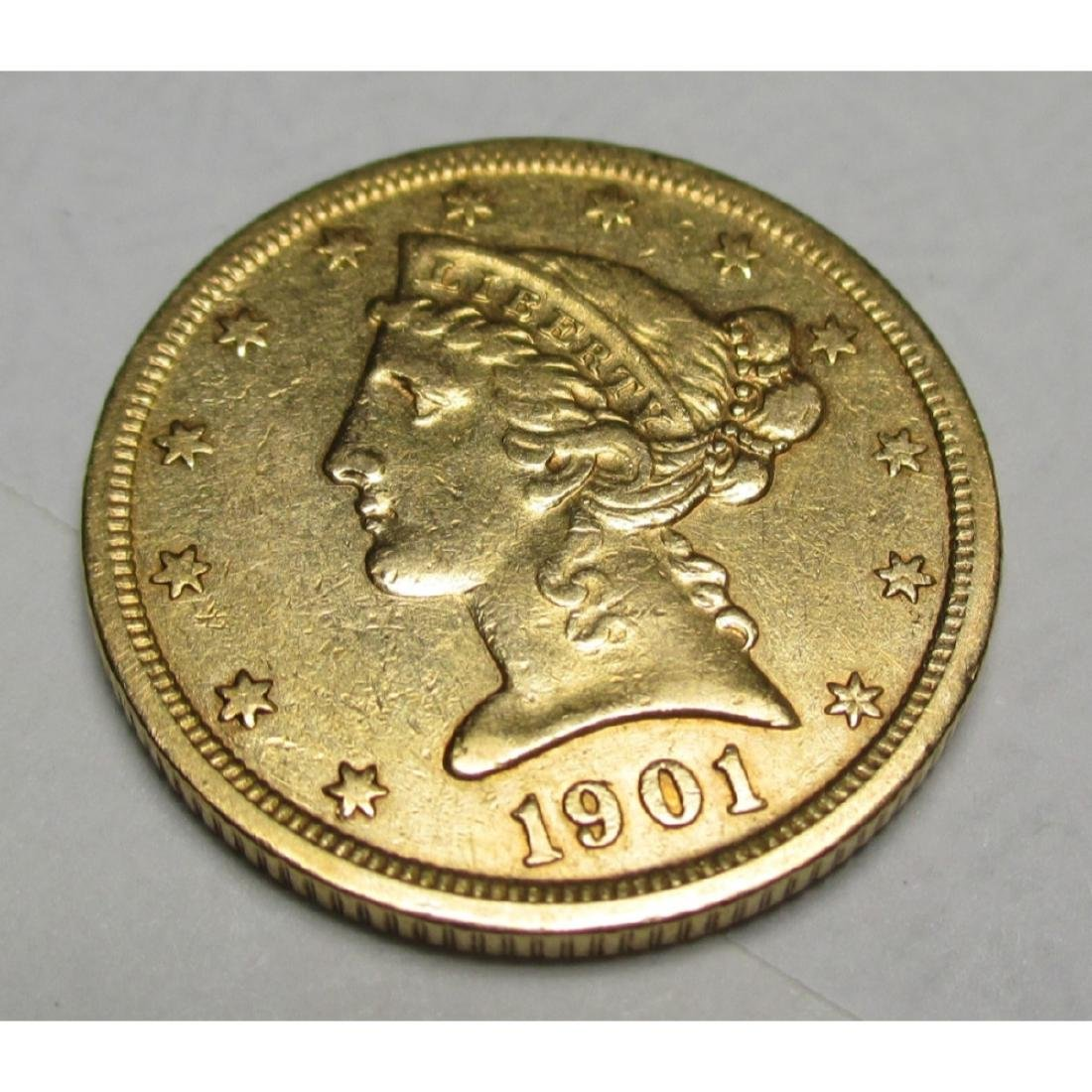 1901 S $5 FIVE Gold Liberty Half Eagle
