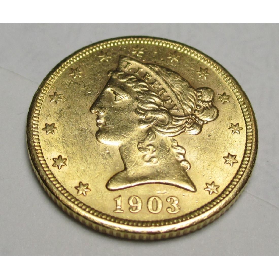 1903 s $5 FIVE Gold Liberty Half Eagle