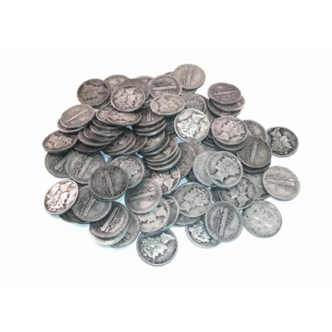 (100) Mercury Dimes  -90% Silver - 2