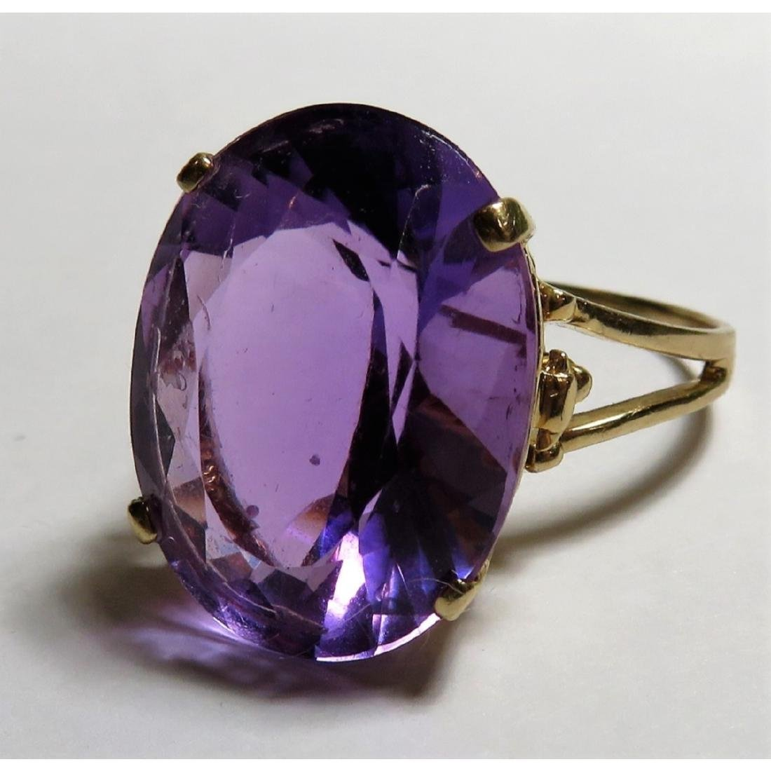 Extra Fine 17 ct. Amethyst  Designer Ring in 14k - 3
