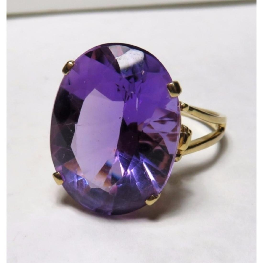 Extra Fine 17 ct. Amethyst  Designer Ring in 14k - 7