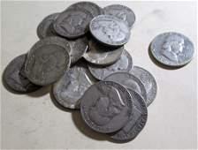 20 pcs Franklin Half Dollars 90 Silver