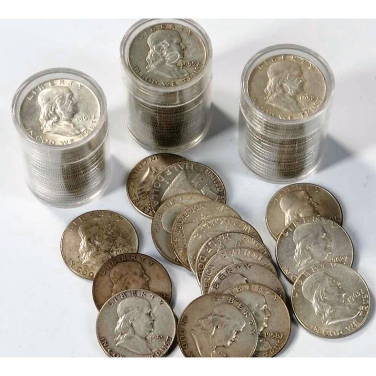 80 pcs. Franklin Half Dollars -90% Silver