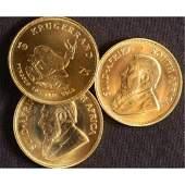 (3) Random Date 1 oz Krugerrand Gold Coins