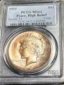 1921 Hi Relief MS 64 PCGS Peace Silver Dollar