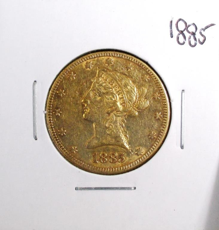 1885 P $10 Gold Liberty Eagle VG-VF Grade