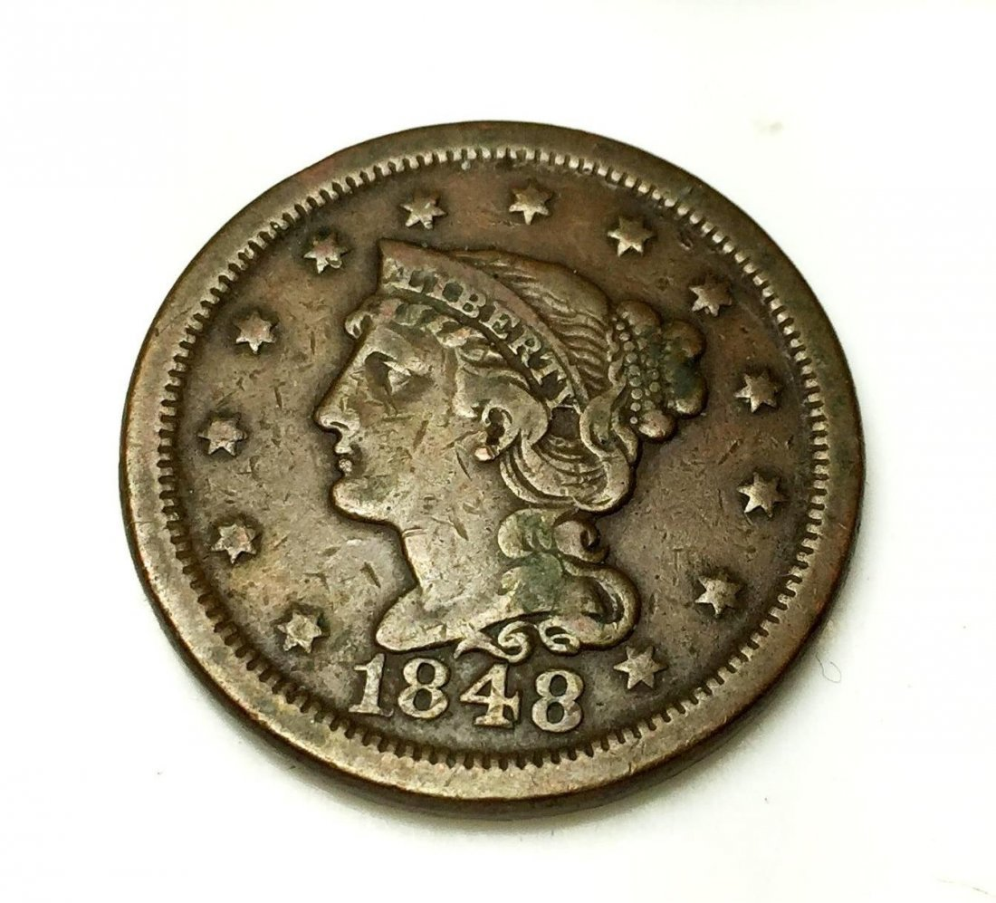 1848 Large Cent - VF Grade