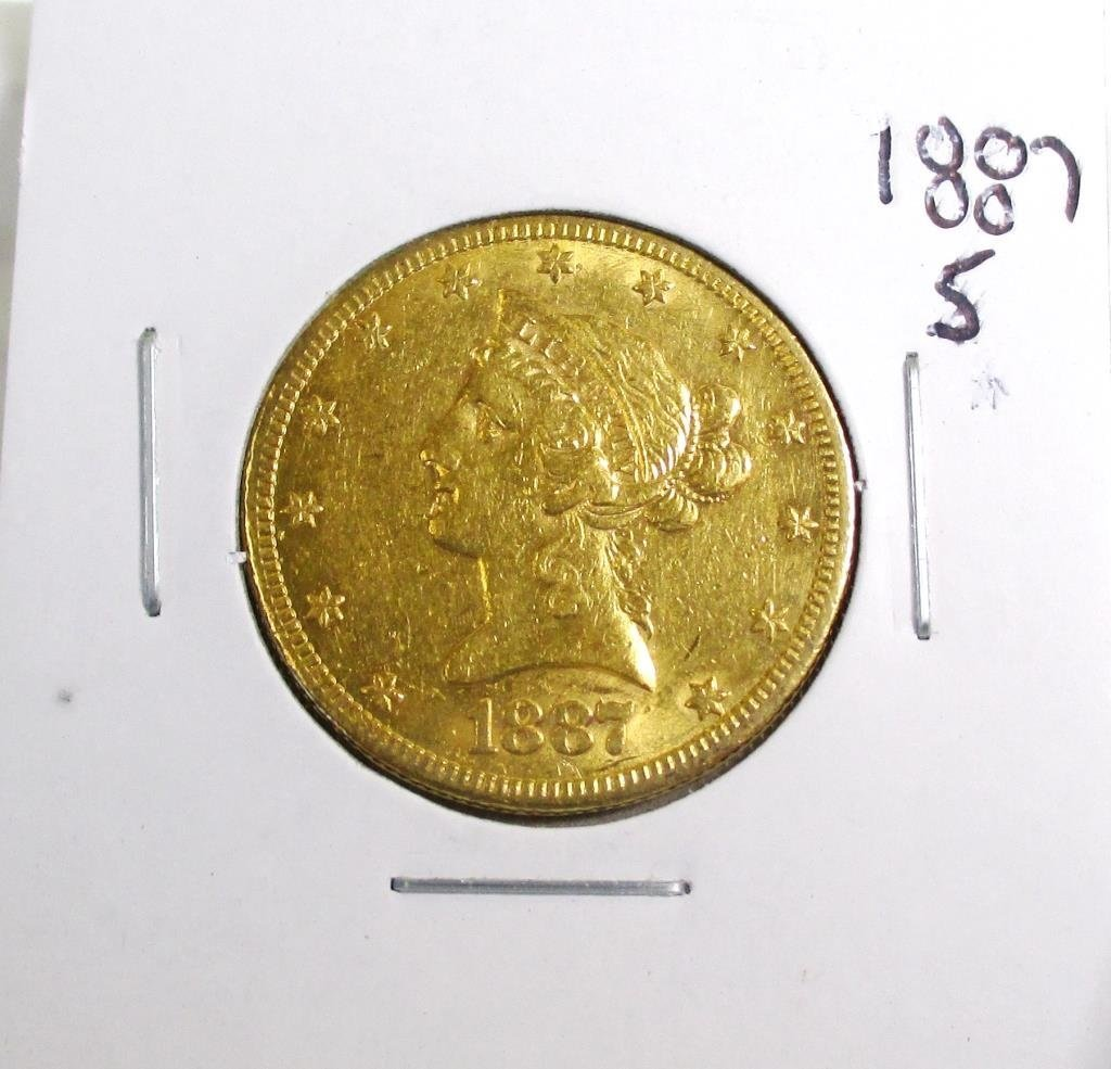 1887 S $10 Gold Liberty Eagle VG-VF Grade