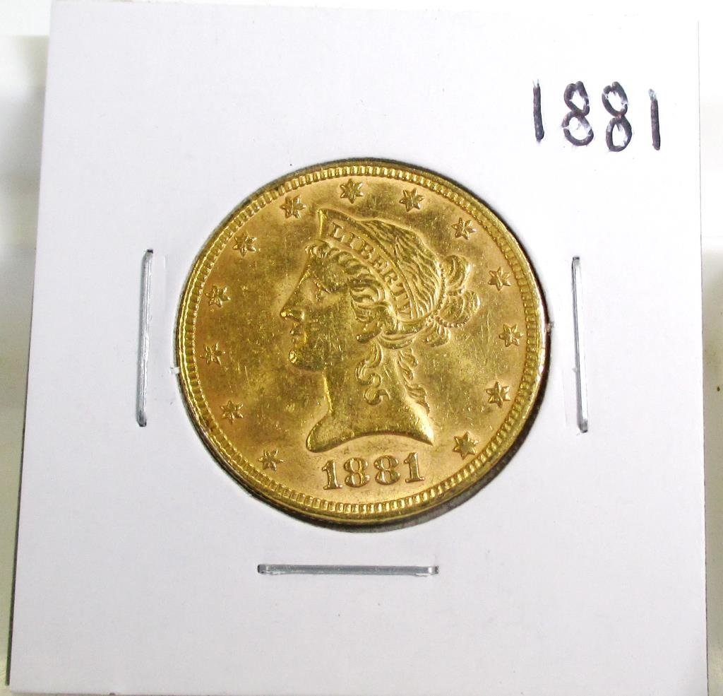 1881 P $ 10 Gold Liberty Eagle AU Grade