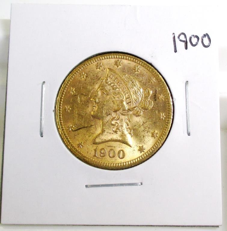 1900 P $ 10 Gold Liberty Eagle AU Grade
