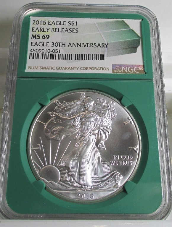 Green Label MS 69 NGC US Silver Eagle