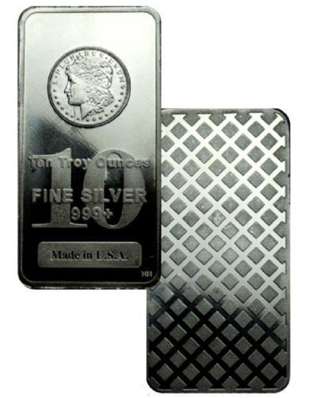 10 oz. Morgan Design Silver Bar- 999 Pure