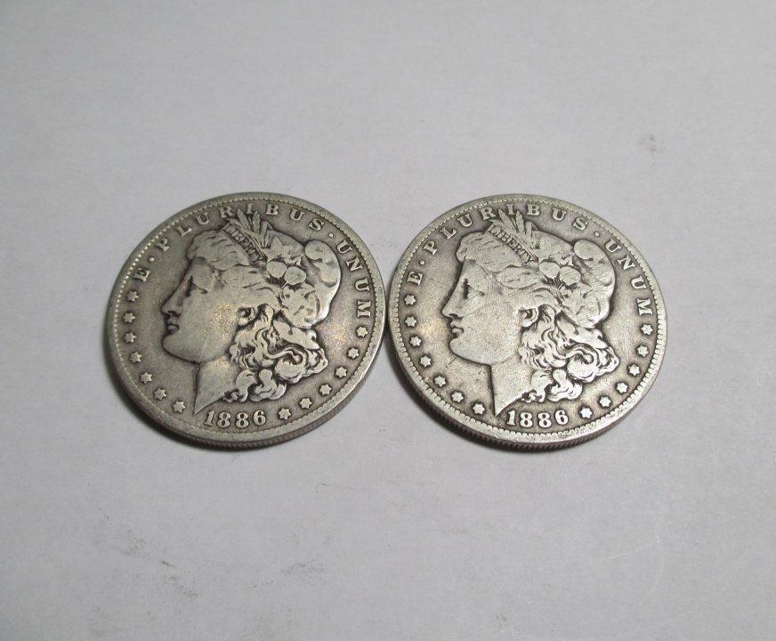 (2) Better Date 1886 O Morgan Silver Dollars