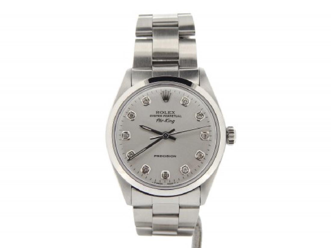 Mens Rolex Stainless Steel Air-King Silver Diamond 5500